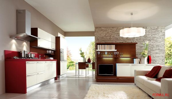 Фото совмещнные кухня и гостиная