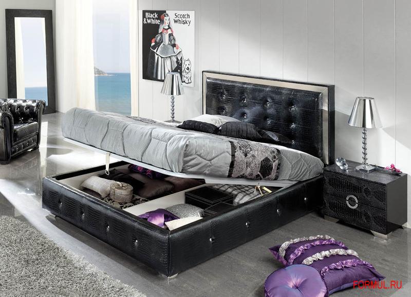 Черно белый спальный гарнитур фото