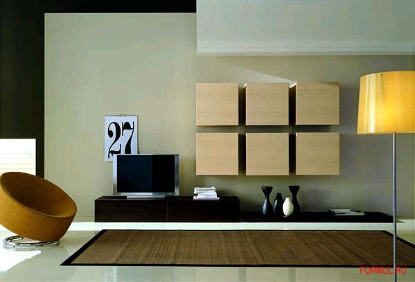 Навесные шкафы и полки для гостиной - современный и стильный.